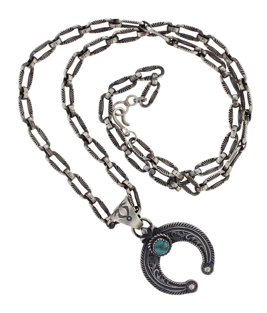 Sterling Silver Genuine Turquoise Pendant & Chain Link