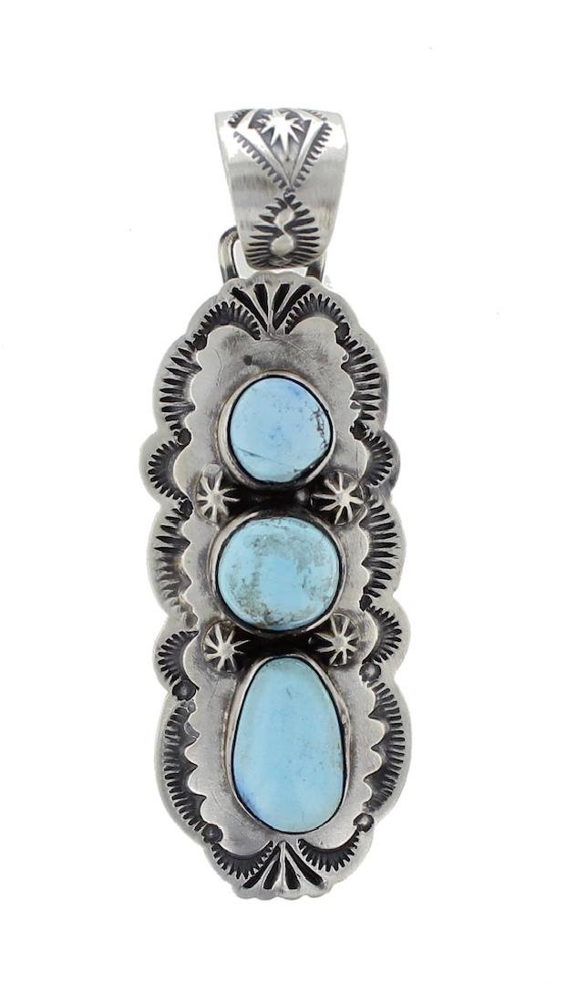Sterling Silver Genuine Turquoise Contemporary Pendant