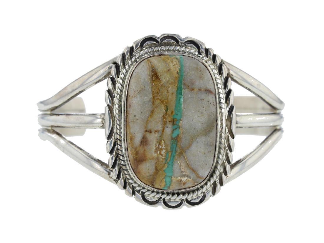 Sterling Silver Genuine Boulder Turquoise Bracelet