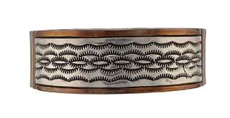 Vintage  Copper  Sterling Silver Huge Bracelet Navajo