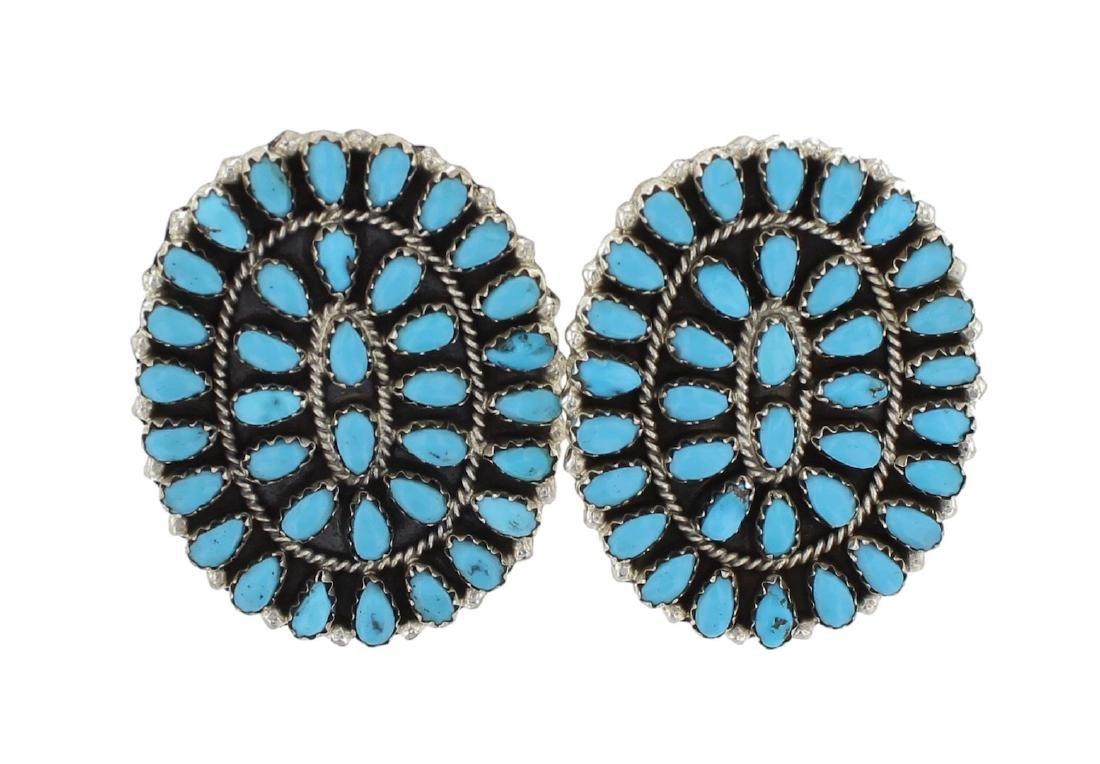 Sterling Silver Genuine Turquoise Vintage Earrings