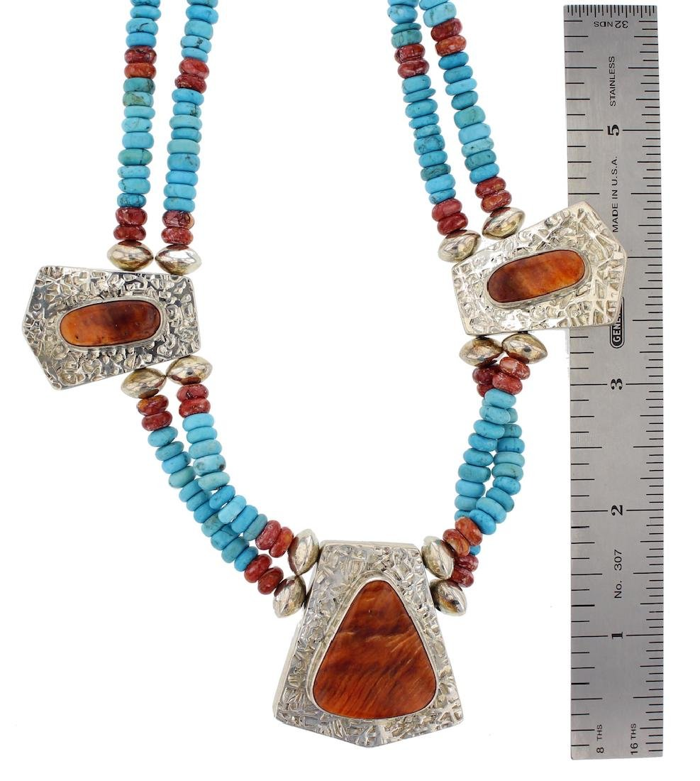 Sterling Silver Genuine Turquoise & Spiny Oyster Double - 2