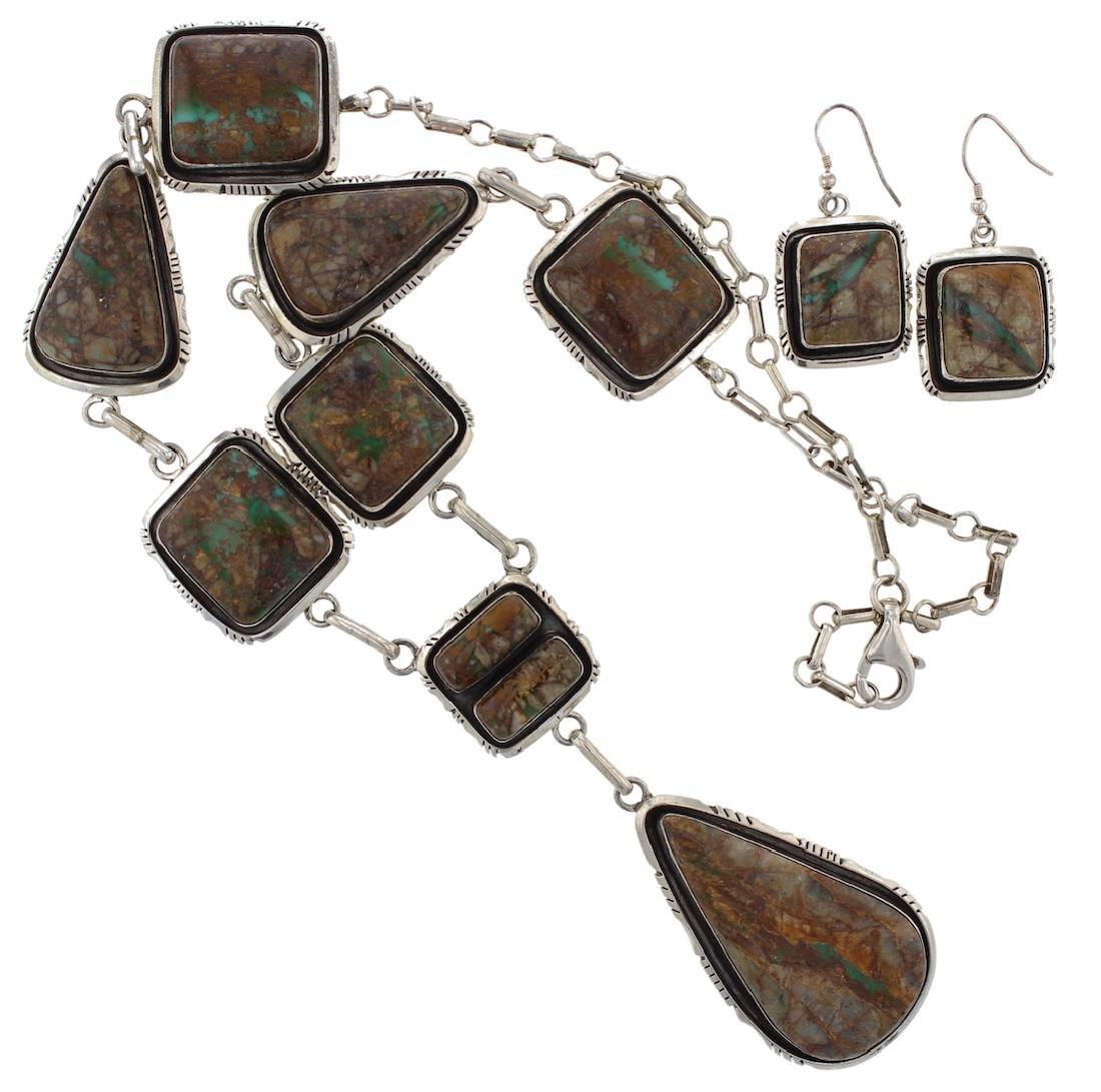 Sterling Silver Genuine Boulder Turquoise Necklace &