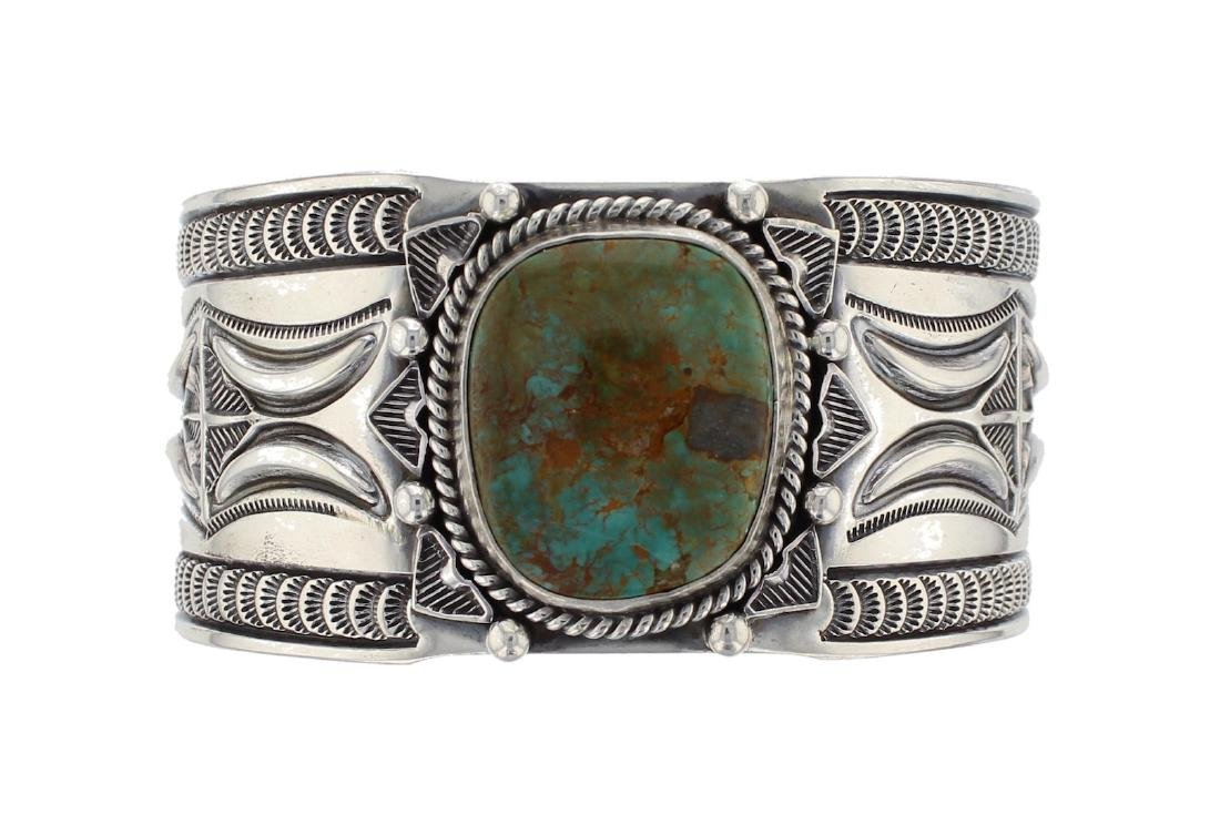 Sterling Silver Genuine Turquoise Masterpiece Stamp