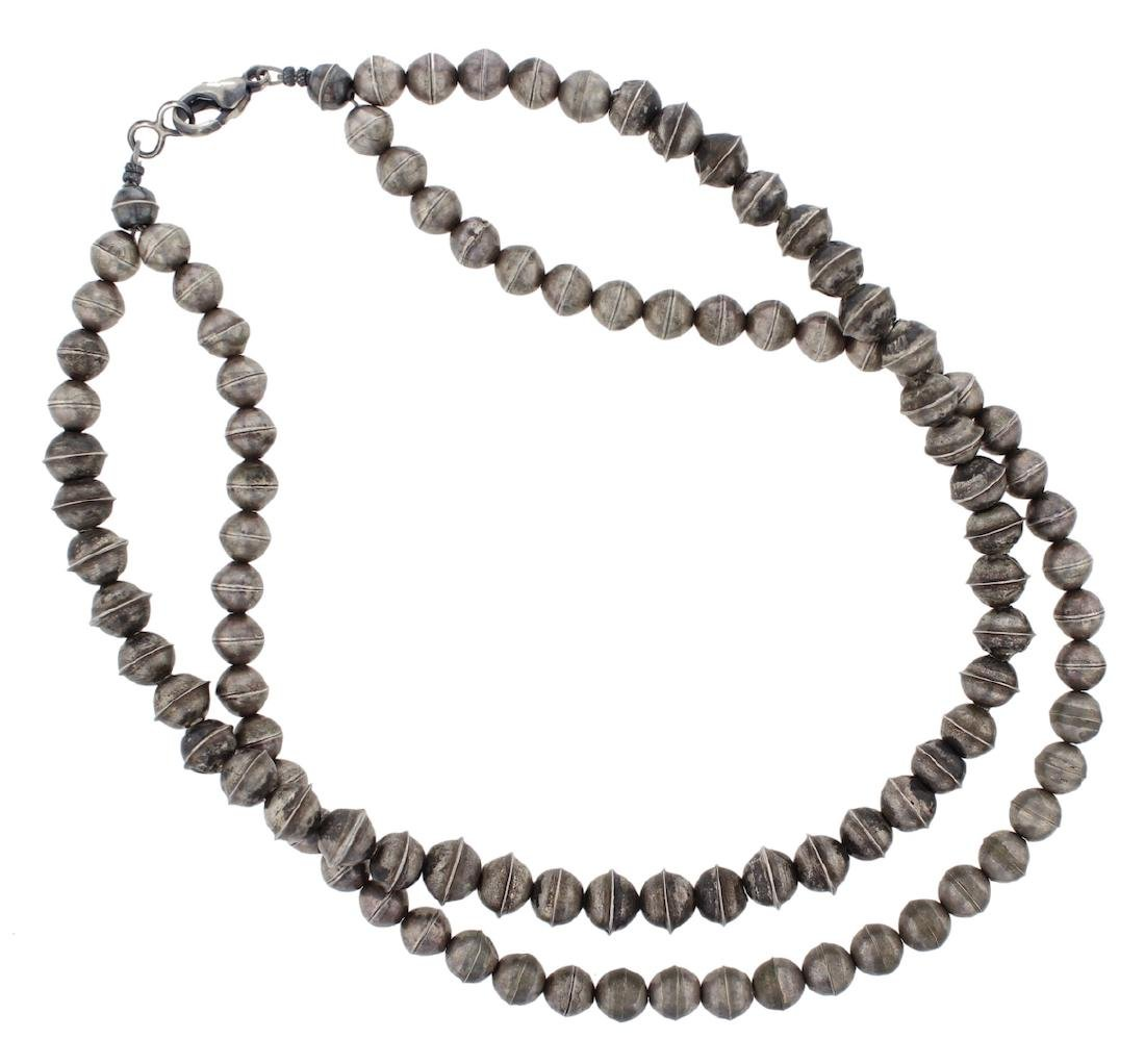 """Sterling Silver Vintage """" Navajo Pearls """" Double Strand"""