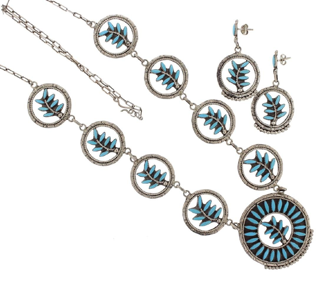 Sterling Silver Genuine Turquoise Vintage Necklace &