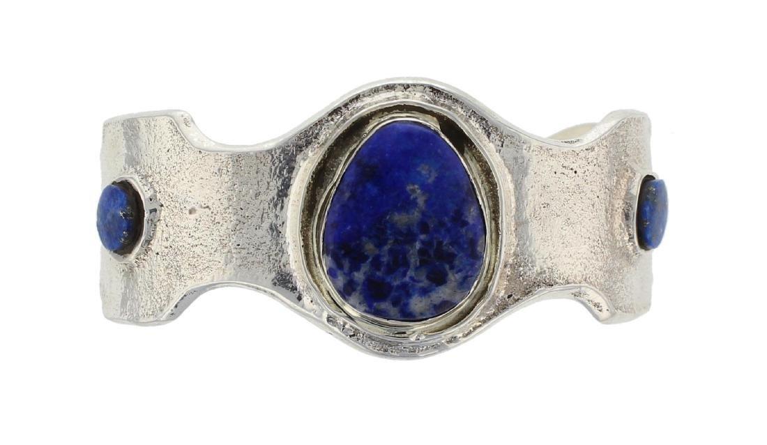 Sterling Silver Genuine Lapis Vintage Bracelet Navajo