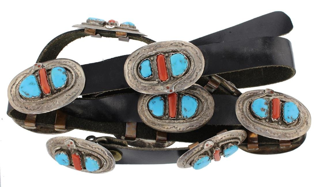 Sterling Silver Genuine Turquoise & Coral Vintage Old