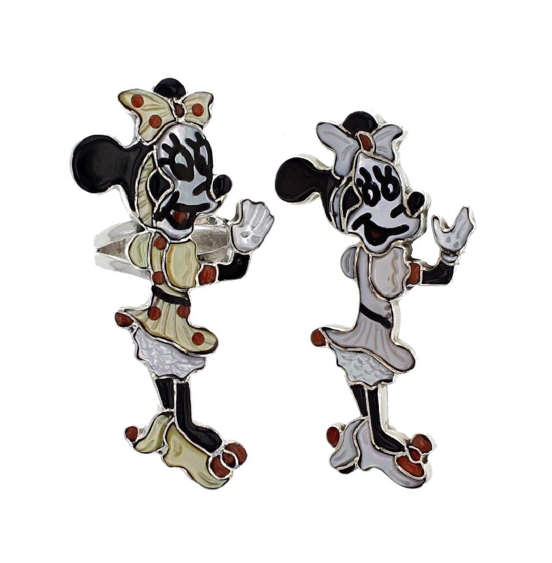 Sterling Silver Genuine Multi Stone Minnie Mouse Fan
