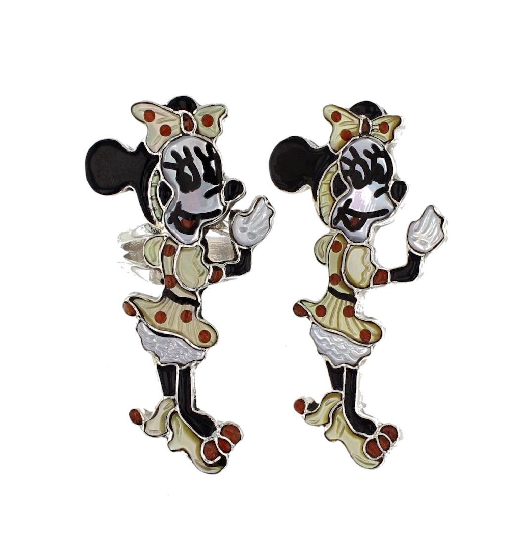 Sterling Silver Genuine Multi Stone Minnie Mouse Fan