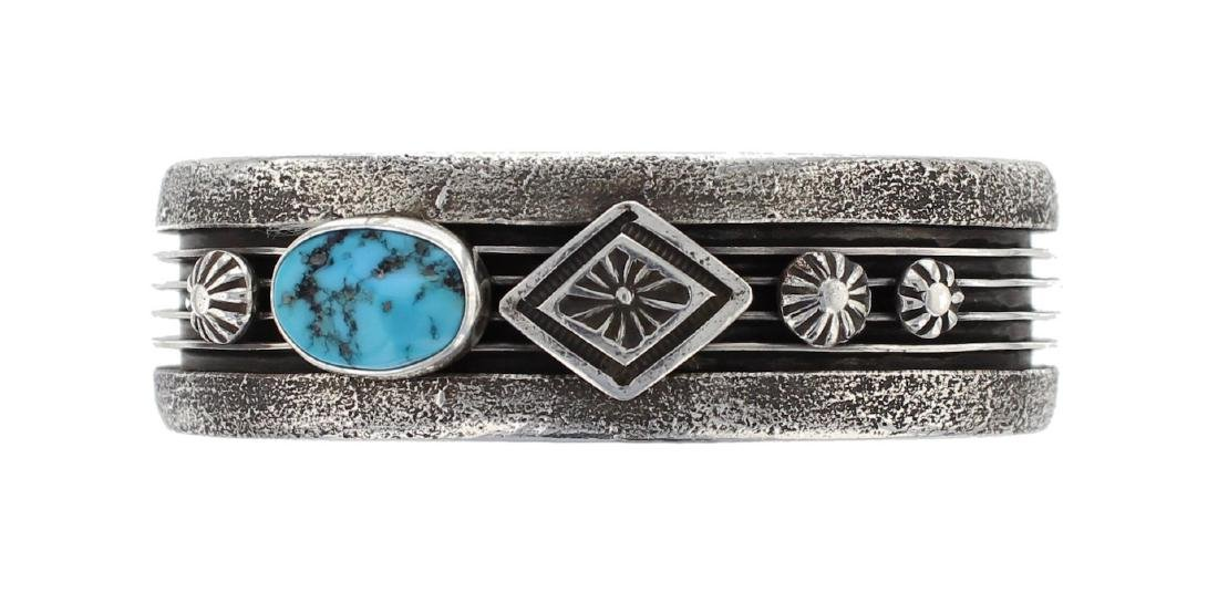 Sterling Silver Genuine Turquoise Vintage Tufa Cast
