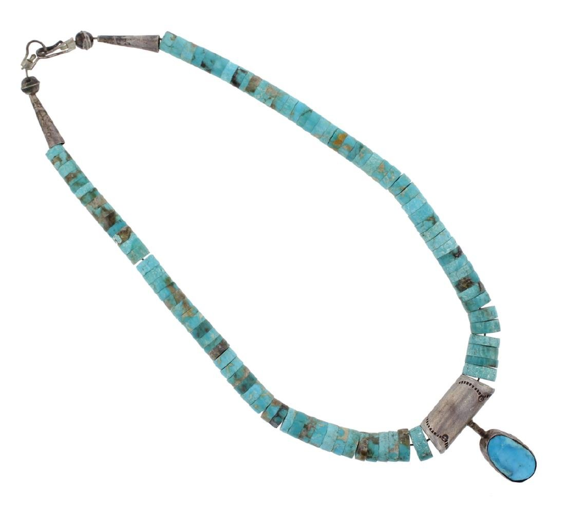 Sterling Silver Genuine Turquoise Vintage Disc Necklace