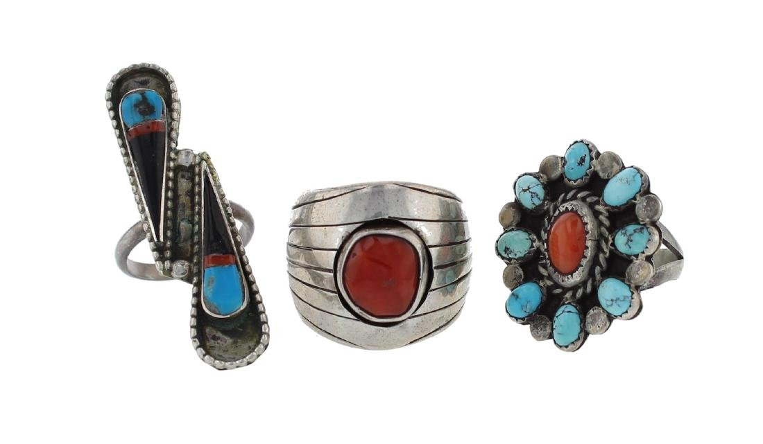 Sterling Silver Genuine Turquoise & Coral Vintage Ring