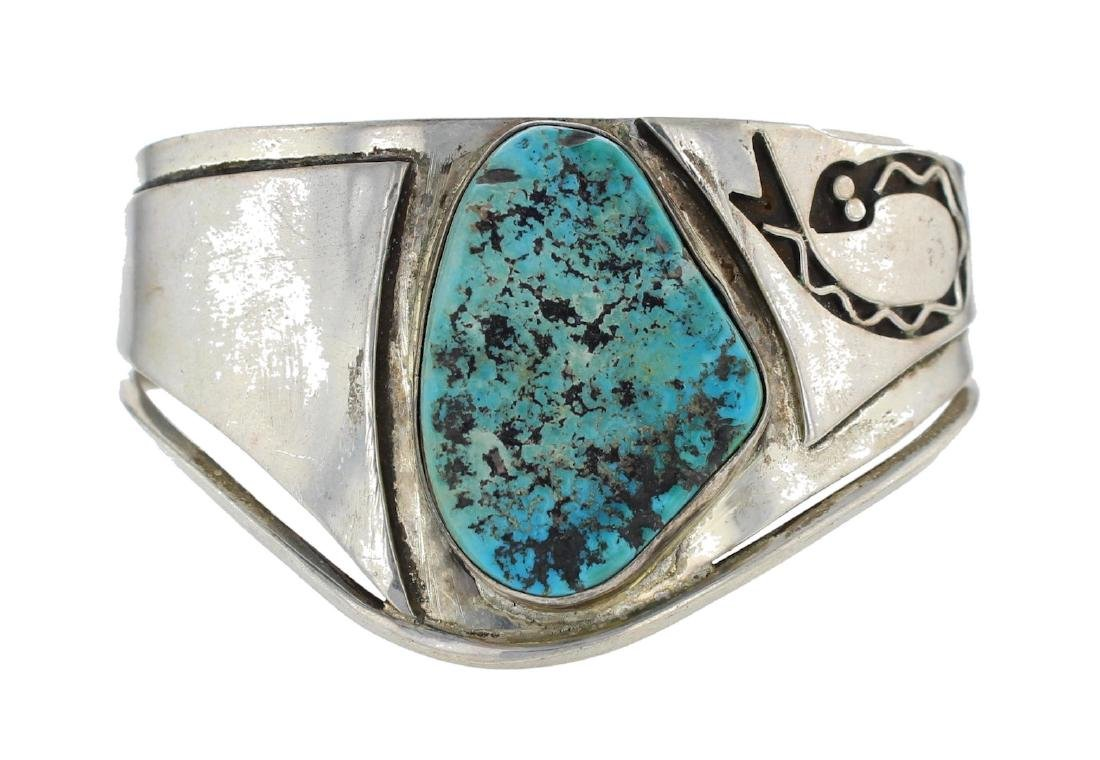Sterling Silver Genuine Turquoise Antique Old Pawn