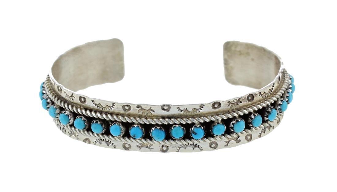 Sterling Silver Genuine Turquoise Row Bracelet Zuni