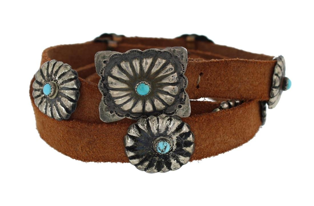 Sterling Silver Genuine Turquoise Vintage Hat Band /