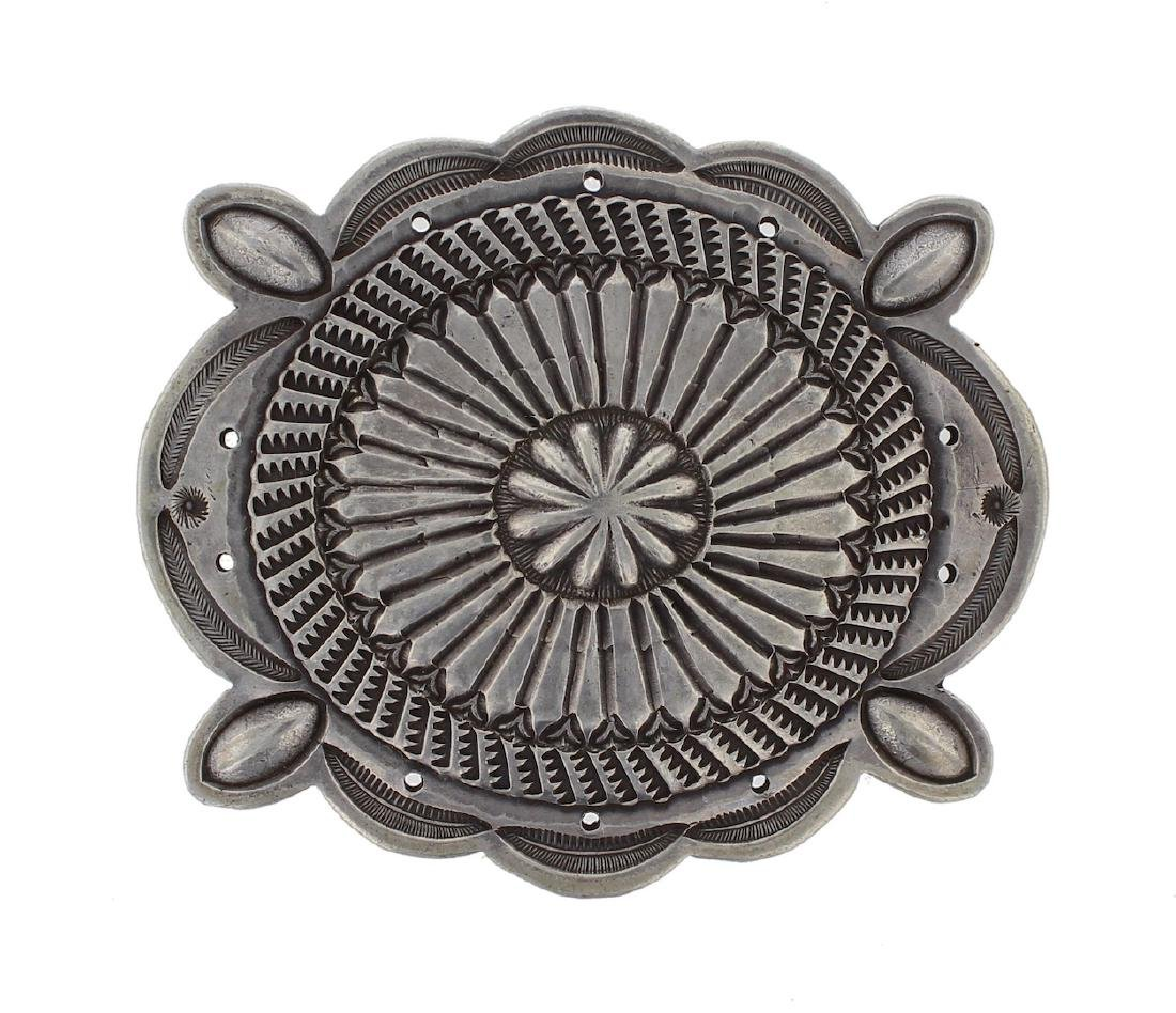 Sterling Silver Vintage Old Pawn Heavy Stamp Buckle