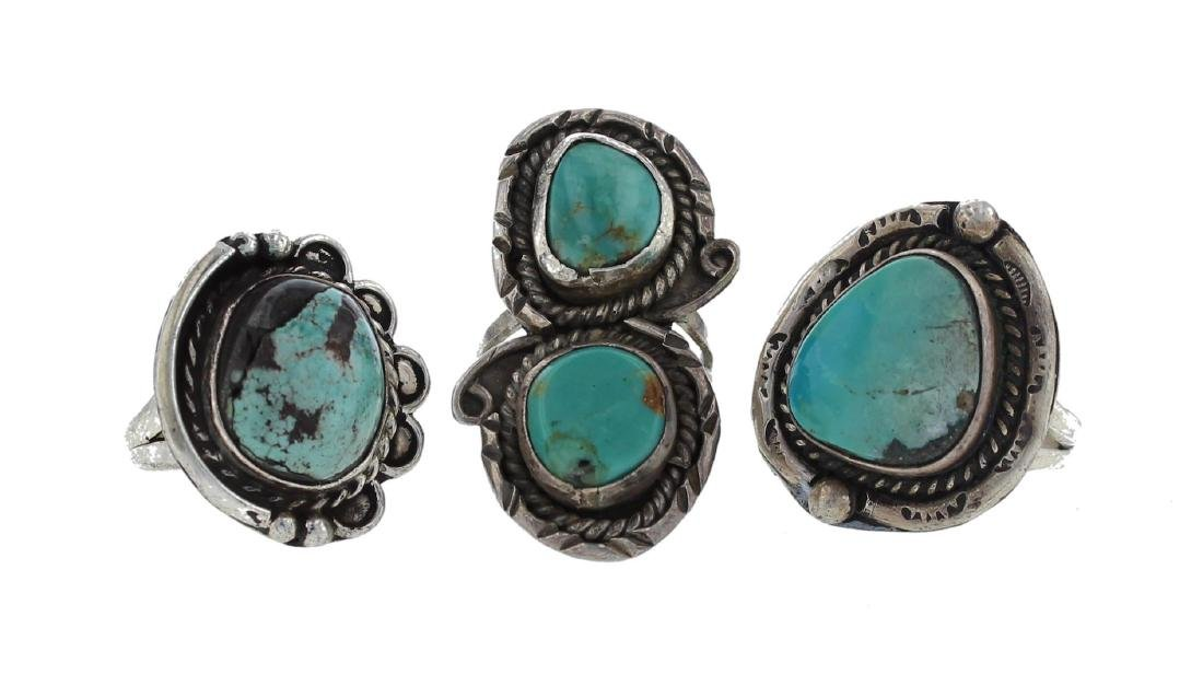 Sterling Silver Genuine Turquoise Vintage Old Pawn Ring
