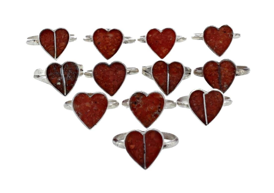 Sterling Silver Block Coral Vintage Heart Rings Lot of