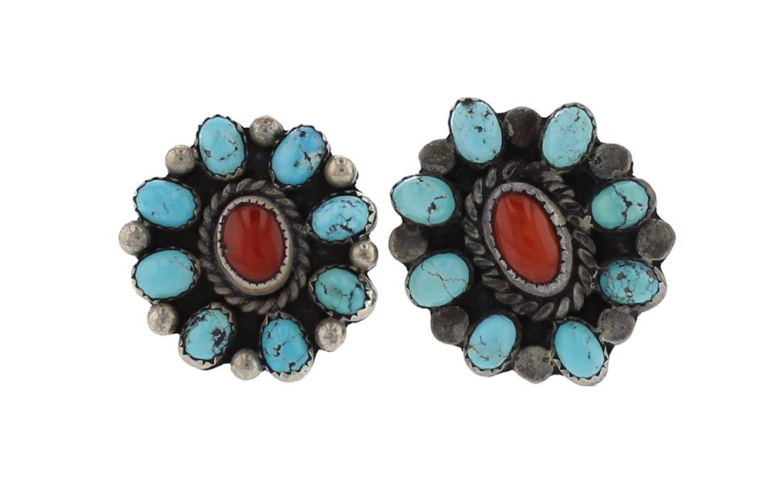 Sterling Silver Genuine Turquoise & Coral Vintage