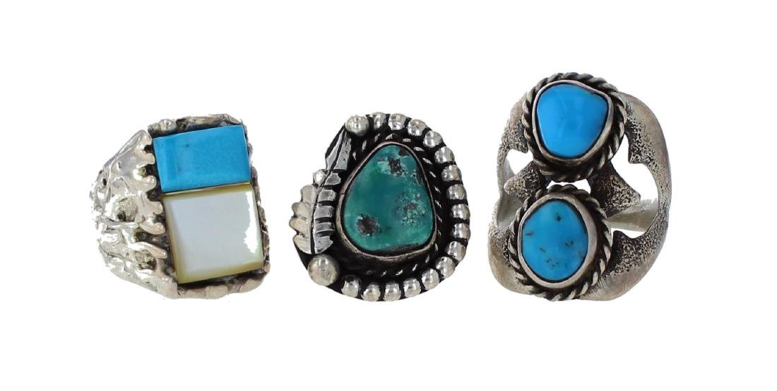 Sterling Silver Genuine Turquoise Lot of 3 Vintage