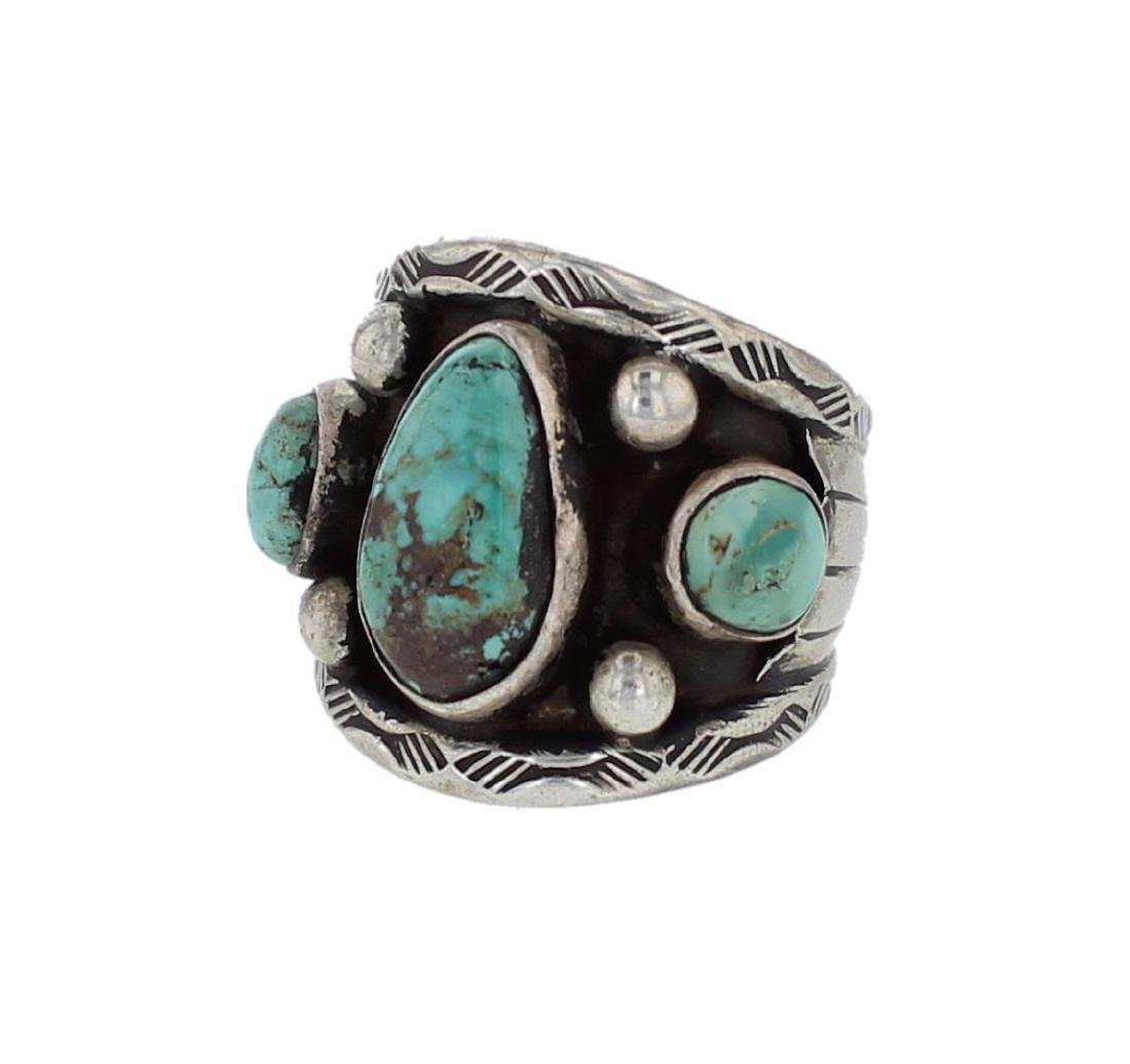 Sterling Silver Genuine Turquoise Vintage Old Paw Ring
