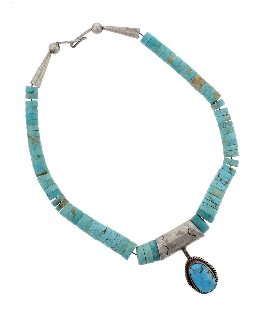 Sterling Silver Genuine Turquoise Vintage Necklace