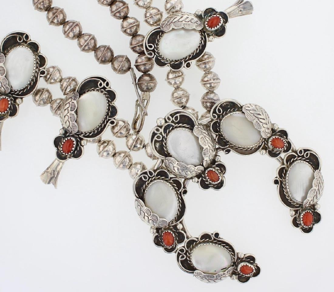 Sterling Silver Genuine Coral & Mother of Pear Vintage - 2