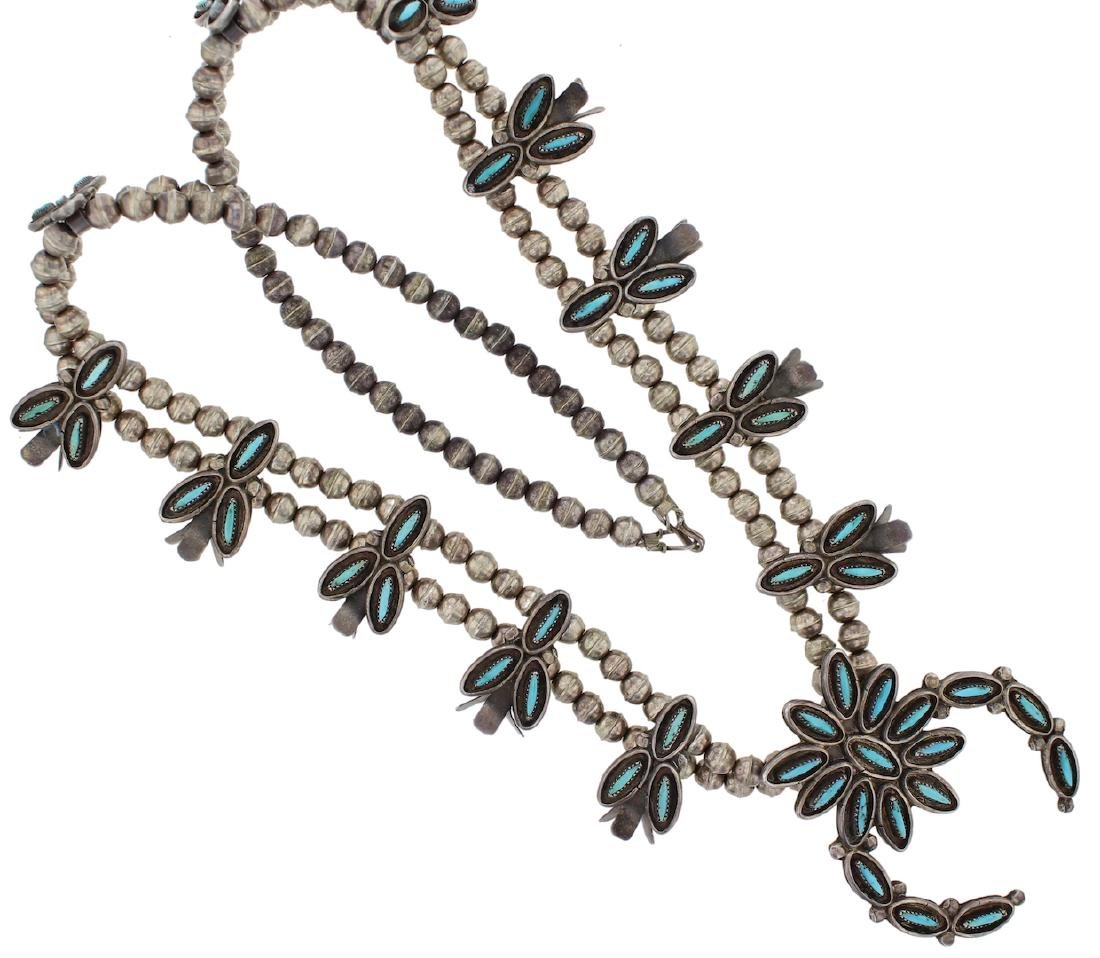 Sterling Silver Genuine Turquoise Needlepoint Antique