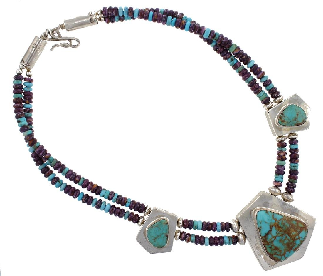 Sterling Silver Genuine Turquoise & Spiny Oyster Double