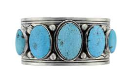 Sterling Silver Genuine Turquoise Contemporary Bracelet