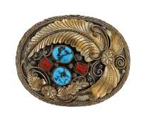 Sterling Silver Genuine Turquoise  Coral Belt Buckle