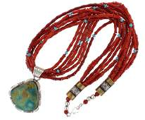Sterling Silver Bamboo Coral 6 Strand Necklace