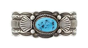 Sterling Silver Genuine Turquoise Vintage Heavy Stamp