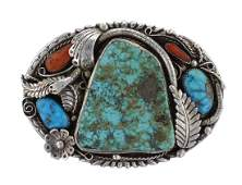 Sterling Silver Genuine Turquoise  Coral Vintage Old