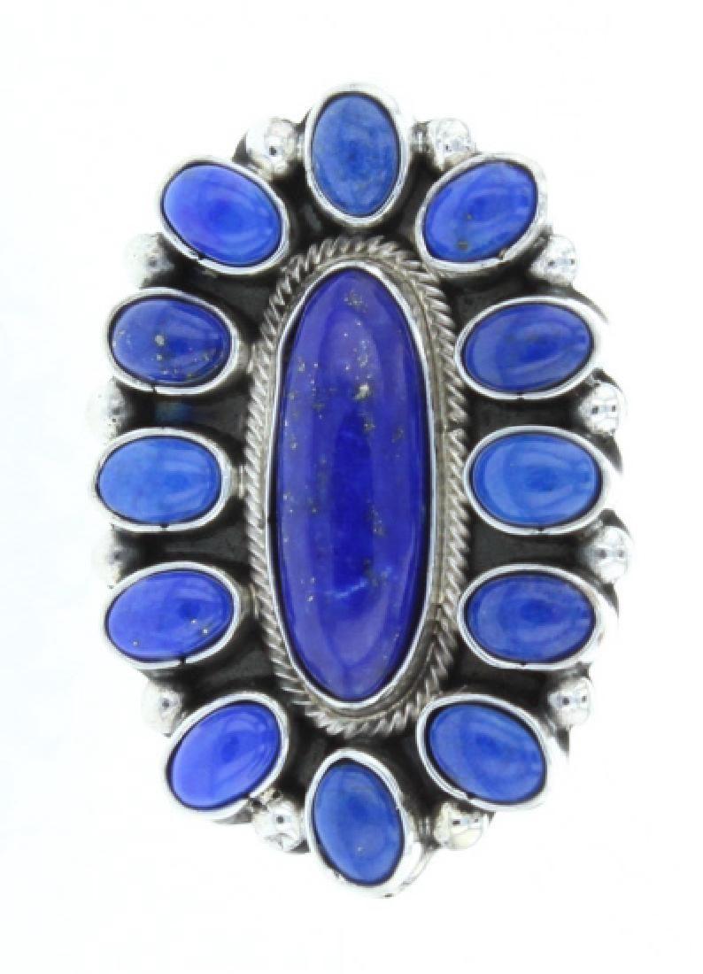 Sterling Silver Genuine Lapis Contemporary Ring Navajo