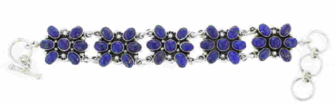 Sterling Silver Genuine Lapis Contemporary Link