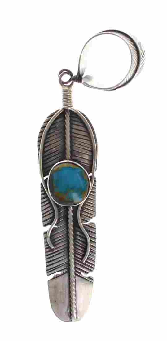 Sterling Silver Genuine Turquoise Feather Pendant