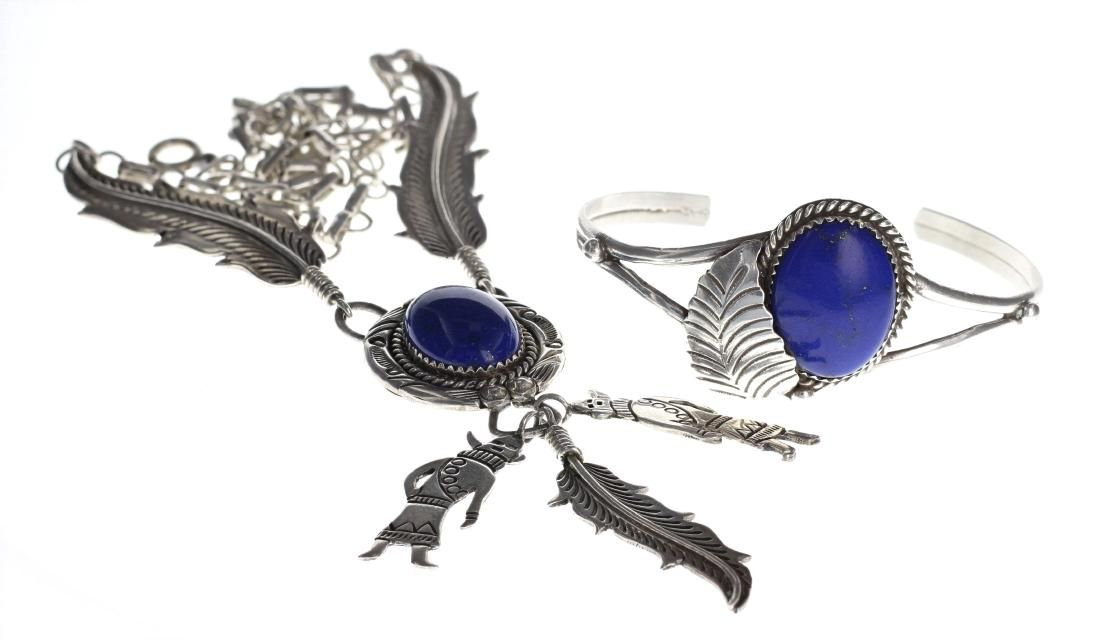 Sterling Silver Genuine Lapis Bracelet & Necklace Set