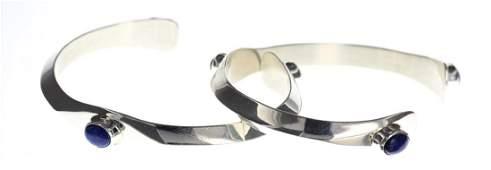 Sterling Silver Genuine Lapis Contemporary Bracelet Set