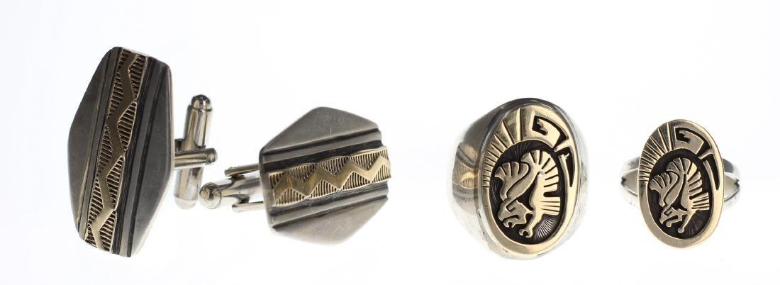 Sterling Silver & 14K Gold 2 Rings & Cufflink Lot of 3