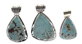 Sterling Silver Genuine Dry Creek Turquoise Pendant Lot