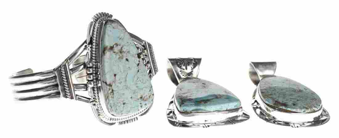 Sterling Silver Genuine Dry Creek Turquoise Pendants &