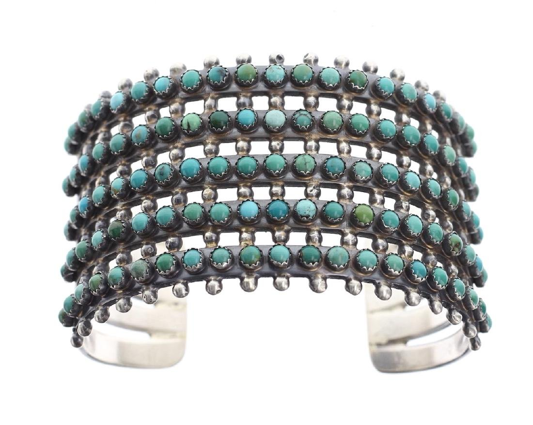 Sterling Silver Genuine Turquoise 5 Row Masterpiece