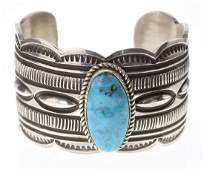 Sterling Silver Genuine Turquoise Heavy Stamp Bracelet