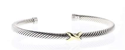David Yurman Sterling Silver  18K Gold Cable Bracelet