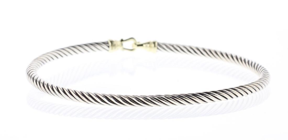 David Yurman Sterling Silver & 18K Gold Buckle Bracelet