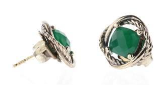 David Yurman Sterling Silver Green Onyx Earrings