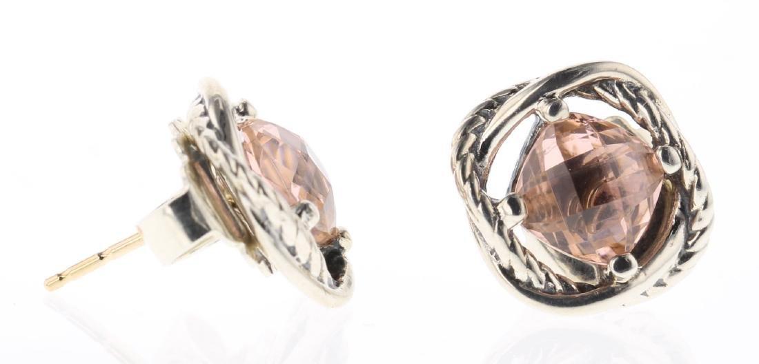 David Yurman Sterling Silver Morganite Earrings