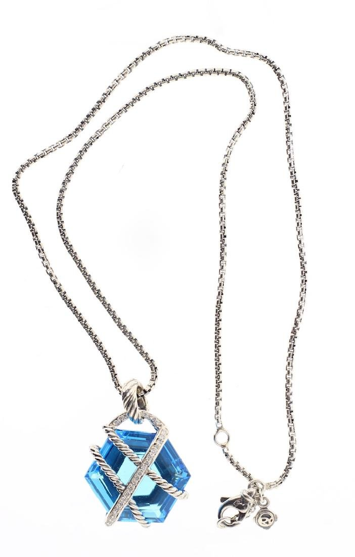 David Yurman Sterling Silver Blue Topaz & Diamonds